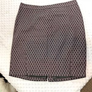 LOFT Womens Sz 10 Lined Print Skirt Brown Black Gr